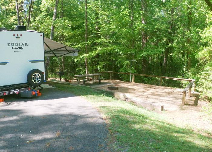 Campsite view, awning-side clearance.Sweetwater Campground, campsite 15.