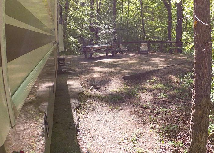 Awning-side clearance, campsite view.Sweetwater Campground, campsite 20.