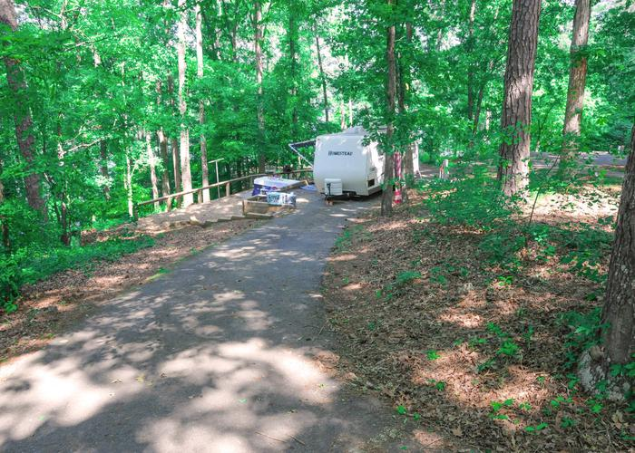 Group Site 28D, pull-thru exit, driveway slope.Sweetwater Campground, group campsite 28D.