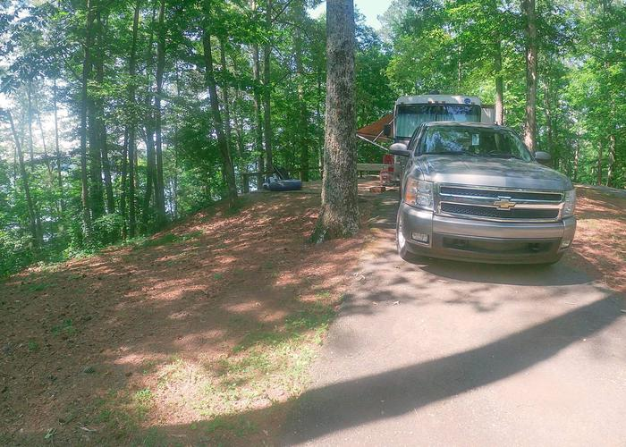 Group Site 28G, pull-thru exit, driveway slope, awning-side clearance.Sweetwater Campground, group campsite 28G.