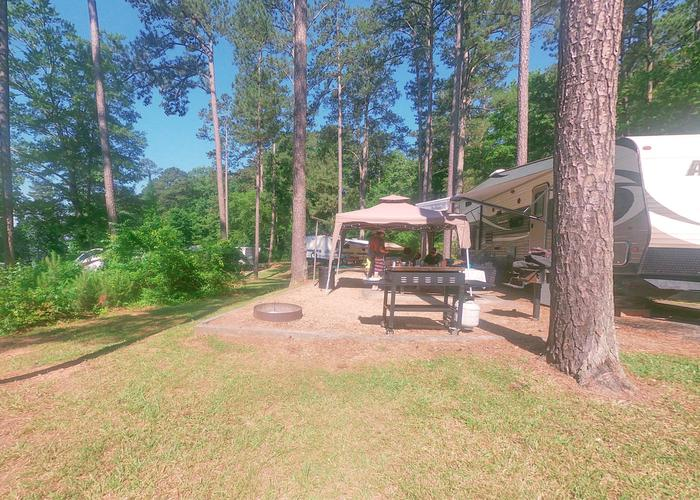 Campsite view, awning-side clearance.Sweetwater Campground, campsite 30.
