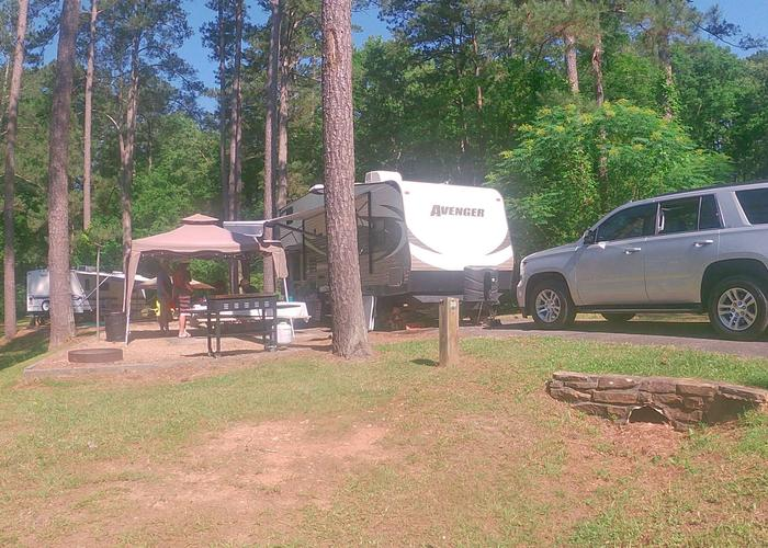 Campsite view, awning-side clearance, driveway slope.Sweetwater Campground, campsite 30.