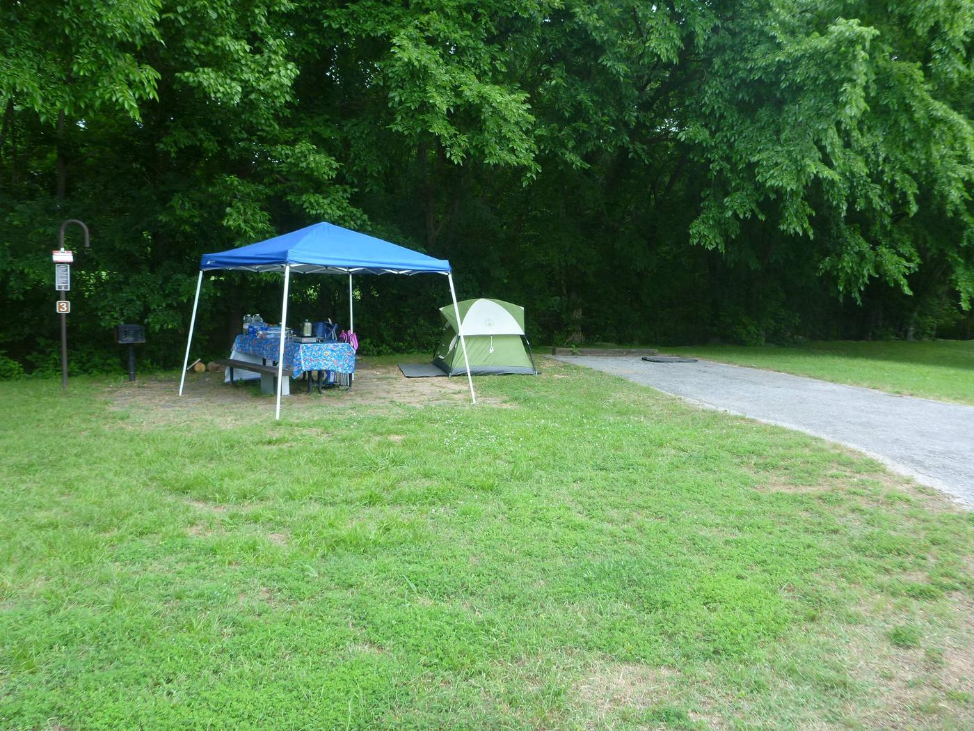 Tyler Bend Main Loop #3Site #3 is a 35 ' back-in site, no tent pad.