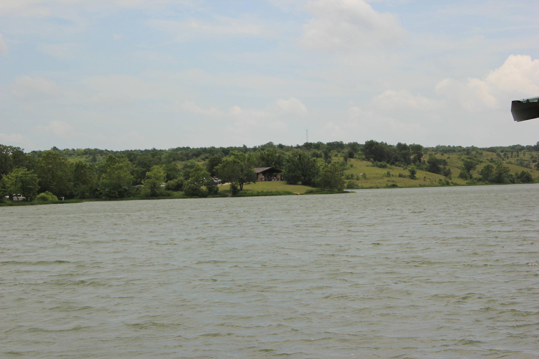 View of Pavilion across Veteran's Lake