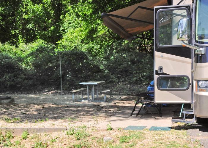 Campsite view, awning-side clearance.Sweetwater Campground, campsite 34.