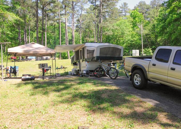 Driveway slope, campsite view, awning-side clearance.Sweetwater Campground, campsite 37.