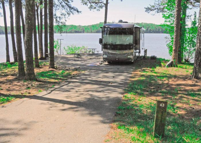 Driveway slope, utilities-side clearance, awning-side clearance.Sweetwater Campground, campsite 43.