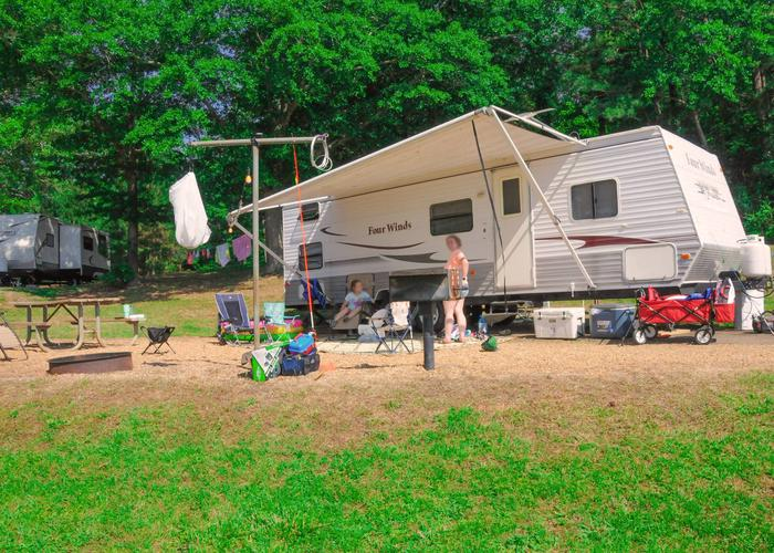 Campsite view, awning-side clearance.Sweetwater Campground, campsite 48.