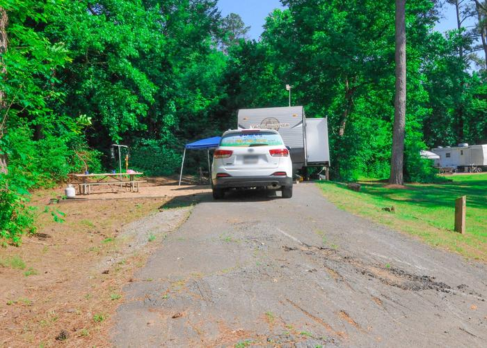 Driveway slope, utilities-side clearance, awning-side clearance.Sweetwater Campground, campsite 54.