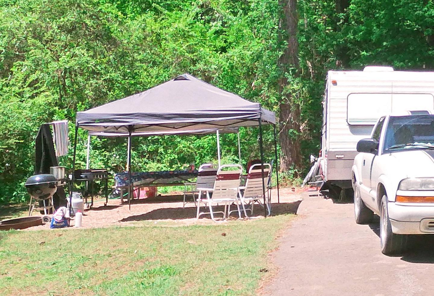 Campsite view, awning-side clearance.Sweetwater Campground, campsite 55.