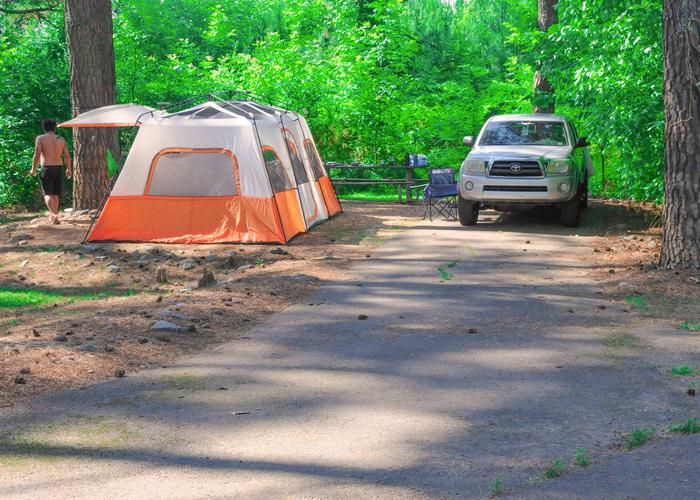 Driveway slope, utilities & awning-side clearance.Sweetwater Campground, campsite 56.