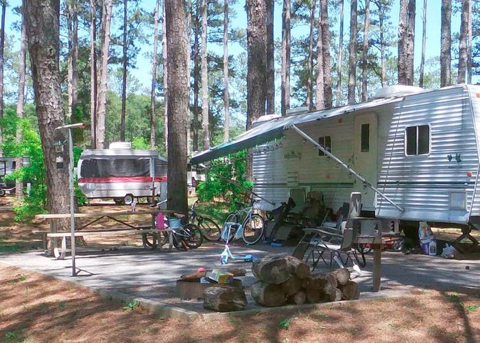 Campsite view, awning-side clearance.Sweetwater Campground, campsite 59.
