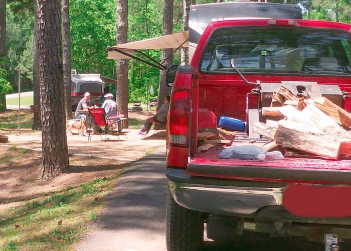 Driveway slope, awning-side clearance.Sweetwater Campground, campsite 61.