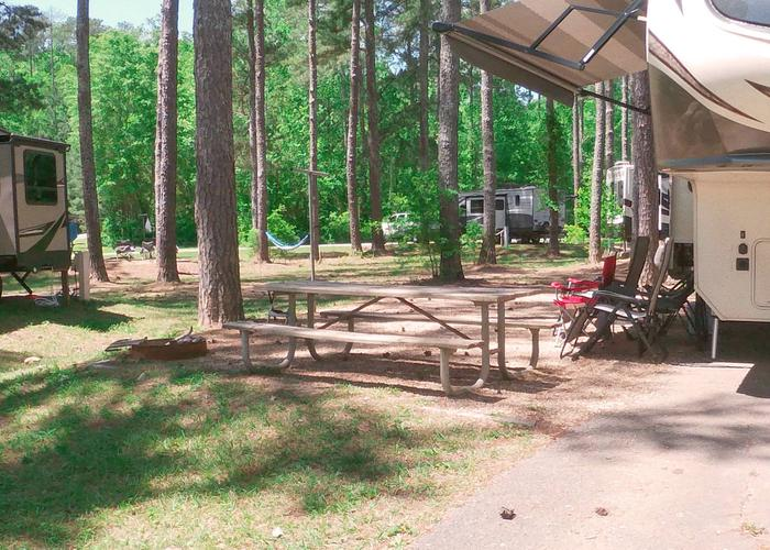 Campsite view, awning-side clearance.Sweetwater Campground, campsite 62.