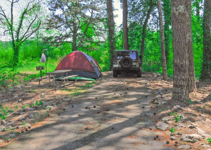 Driveway slope, utilities-side clearance, awning-side clearance.Sweetwater Campground, campsite 67.