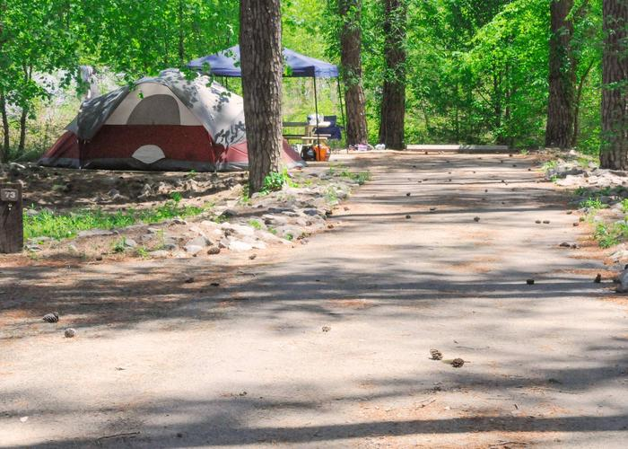 Driveway slope, utility and awning-side clearance.Sweetwater Campground, campsite 73.