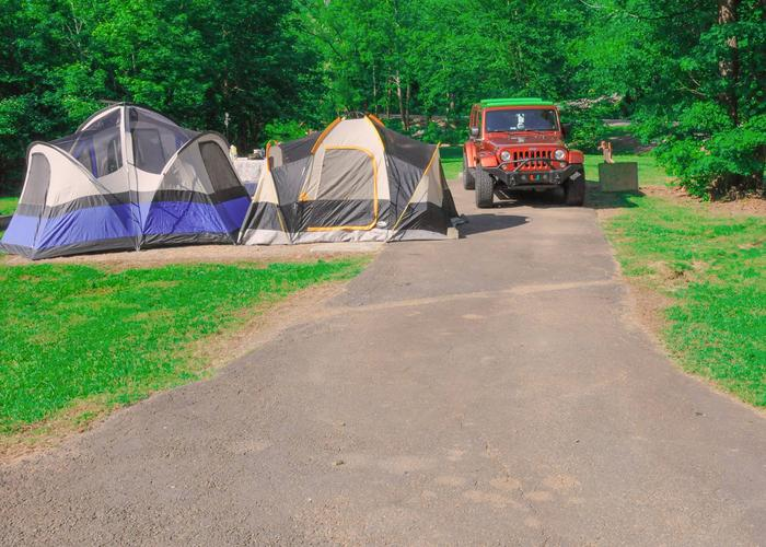 Driveway slope, awning & utilities-side clearance.Sweetwater Campground, campsite 78.