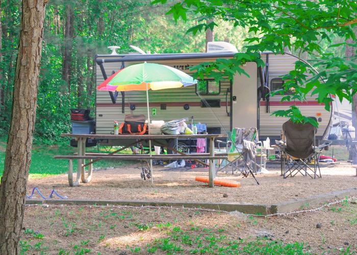 Campsite view, awning-side clearance.Sweetwater Campground, campsite 79.