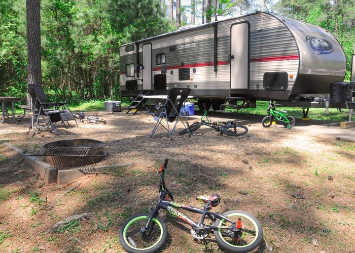 Campsite view, awning-side clearance.Sweetwater Campground, campsite 87.
