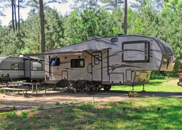 Campsite view, awning-side clearance.Sweetwater Campground, campsite 91.