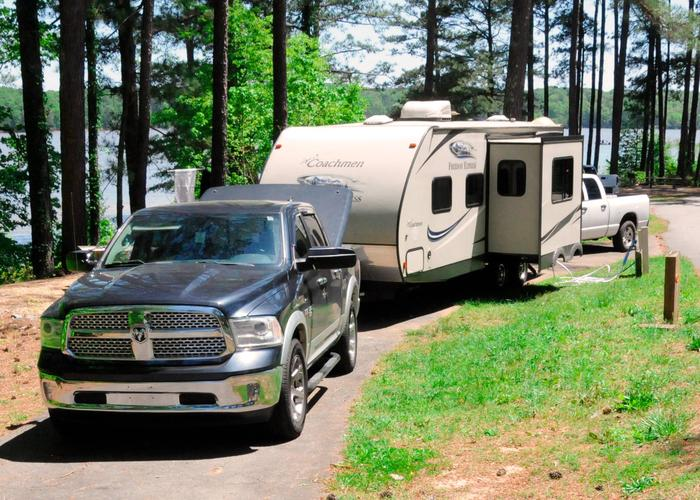 Pull-thru exit, driveway slope, utilities-side clearance.Sweetwater Campground, campsite 92.