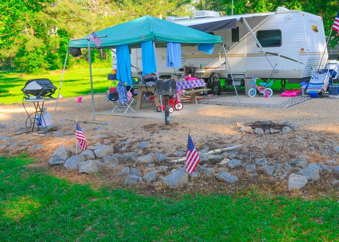 SW110 - Campsite view, awning-side clearance.Sweetwater Campground, campsite 110.