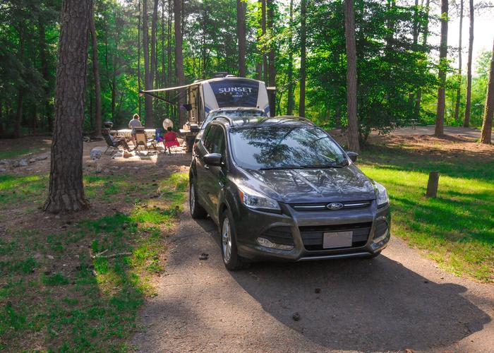 SW116 - Driveway slope, awning-side clearance.Sweetwater Campground, campsite 116
