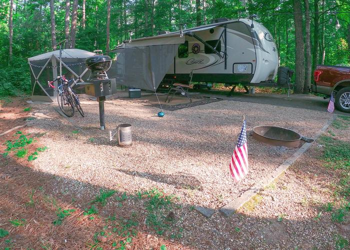 SW120 - Campsite view, awning-side clearance.Sweetwater Campground, campsite 120.
