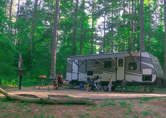 SW122 - Campsite view, awning-side clearance.Sweetwater Campground, campsite 122.
