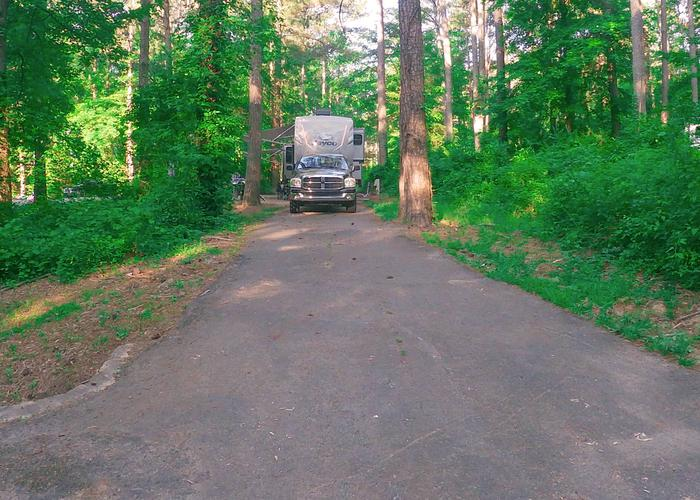 SW126 - Pull-thru exit, driveway slope.Sweetwater Campground, campsite 126.