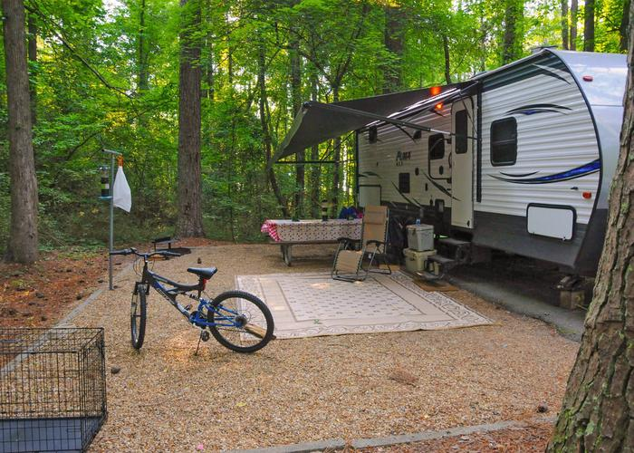 SW136 - Campsite view, awning-side clearance.Sweetwater Campground, campsite 136.