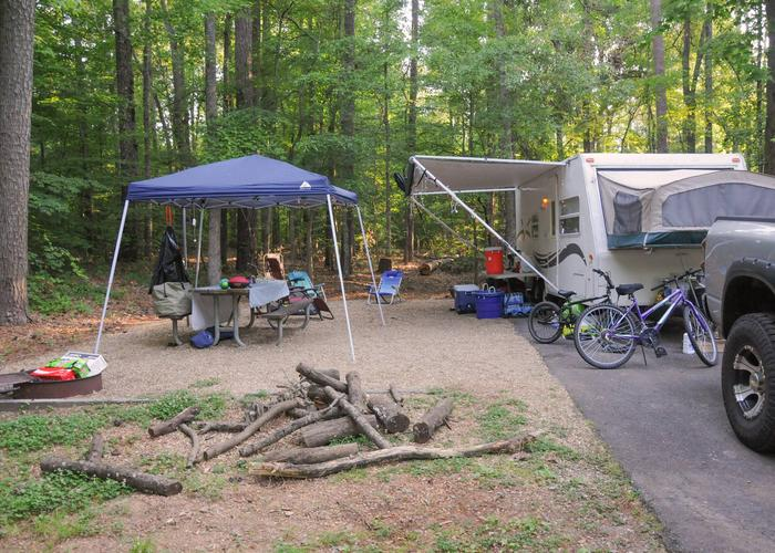 SW141 - Campsite view, awning-side clearance.Sweetwater Campground, campsite 141.