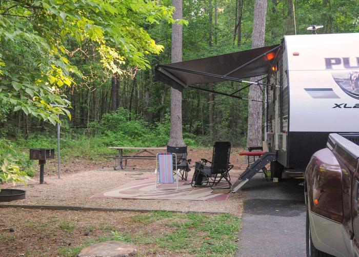SW145 - Awning-side clearance, campsite view.Sweetwater Campground, campsite 145.