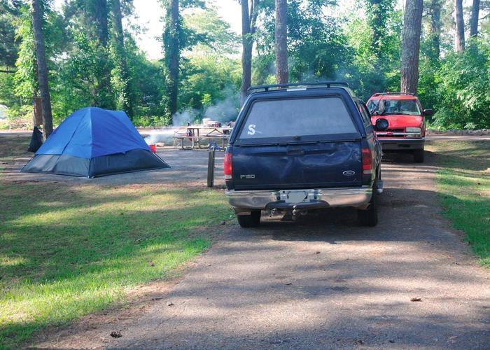 Driveway slope, tent pad.Sweetwater Campground, campsite 77.