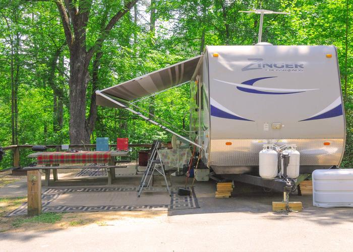 Awning-side clearance.McKaskey Creek Campground, campsite 4.