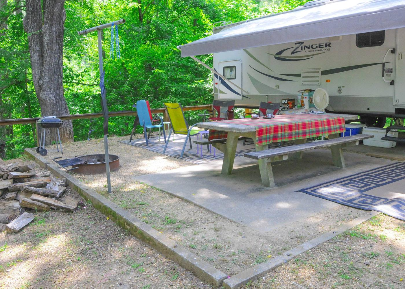 Campsite view, awning clearance.McKaskey Creek Campground, campsite 4.