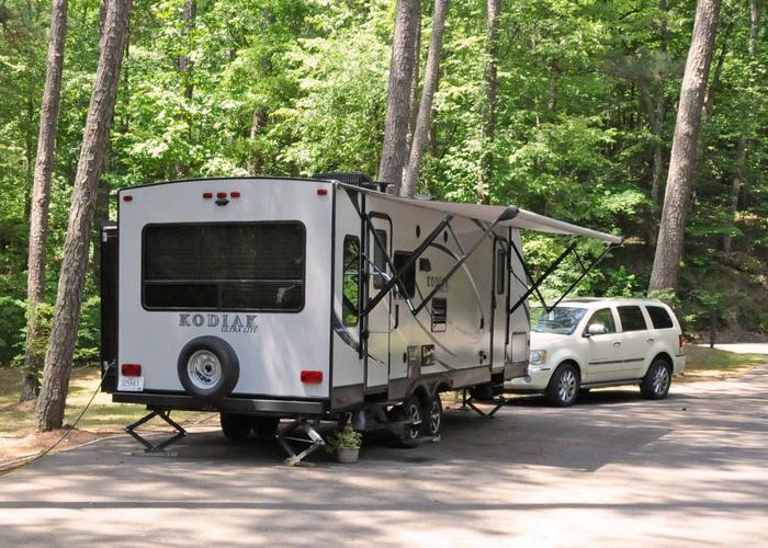 Driveway/RV Pad, awning-side clearance.McKaskey Creek Campground, campsite 6.