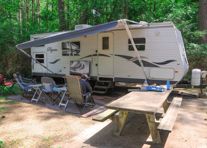 Awning-side clearance.McKaskey Creek Campground, campsite 8