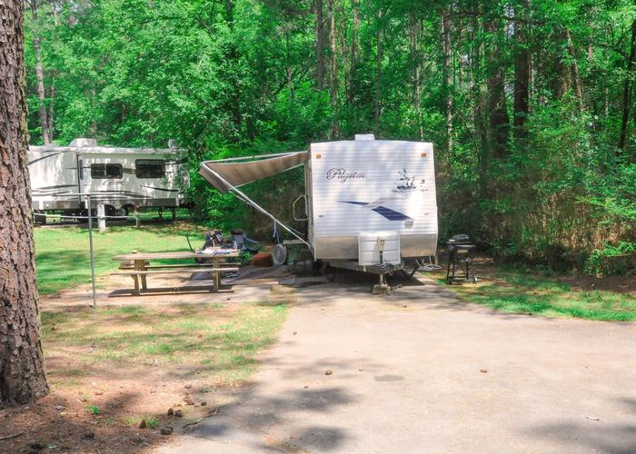 Driveway slope, awning-side clearance, utilities-side clearance.McKaskey Creek Campground, campsite 8.