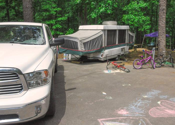 Driveway, utilities-side clearance.McKaskey Creek Campground, campsite 12.