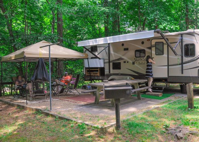 Awning-side clearance, campsite view.McKaskey Creek Campground, campsite 22.