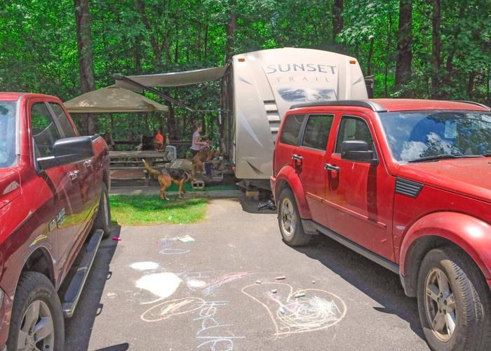 Awning-side clearance.McKaskey Creek Campground, campsite 22.
