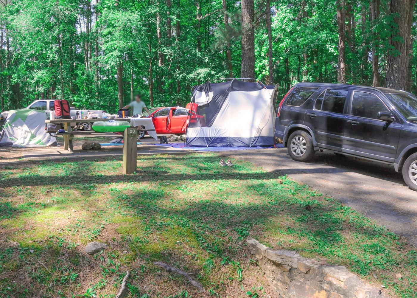 Pull-thru exit, driveway slope, awning-side clearance.McKaskey Creek Campground, campsite 23.