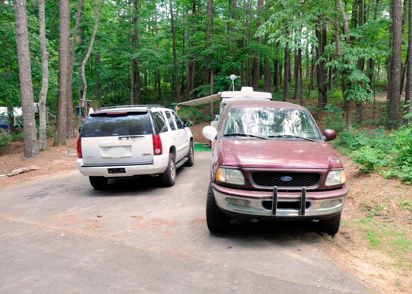 Driveway slope, awning-side clearance.McKaskey Creek Campground, campsite 24.