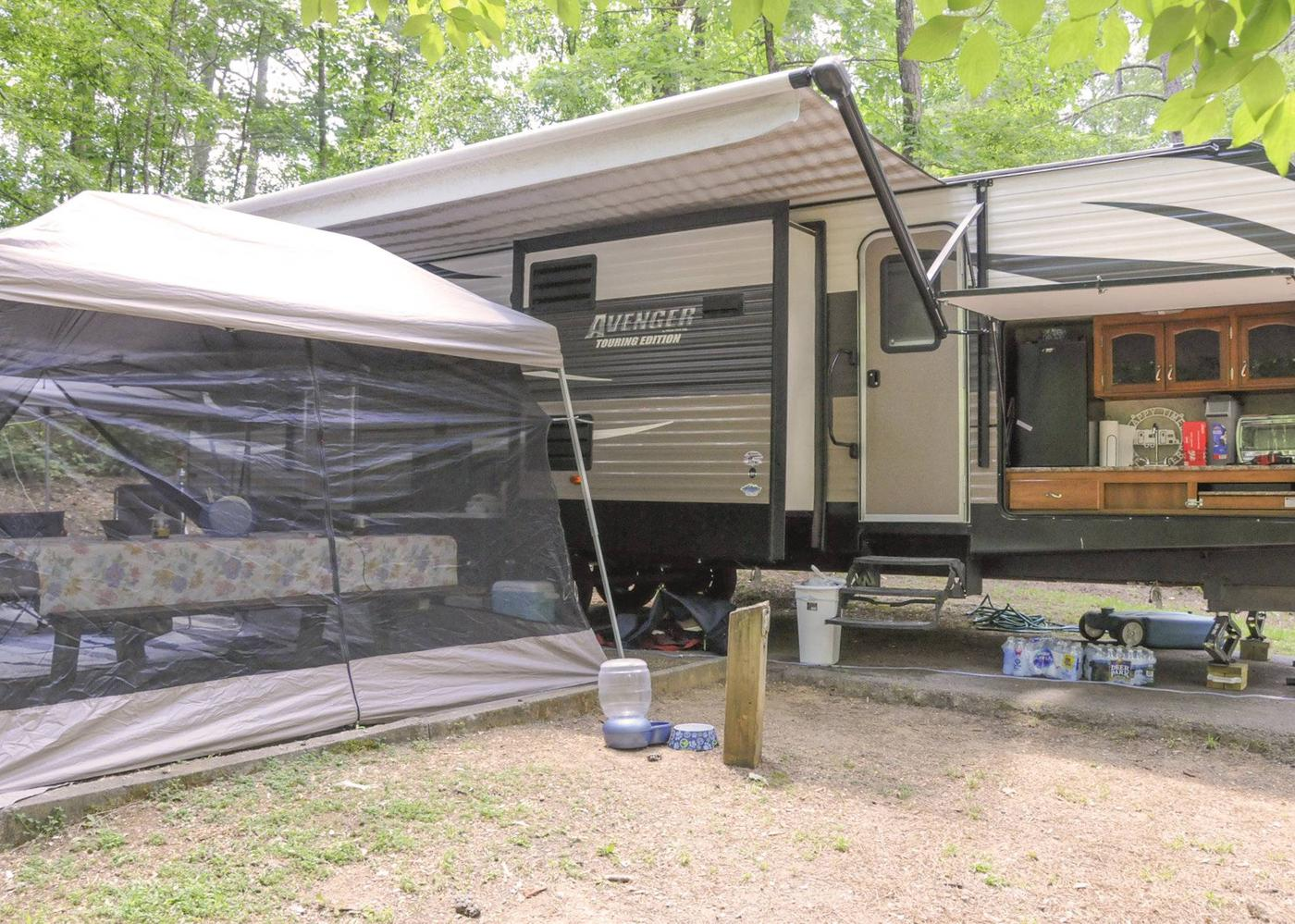 Awning-side clearance, campsite view.McKaskey Creek Campground, campsite 37.