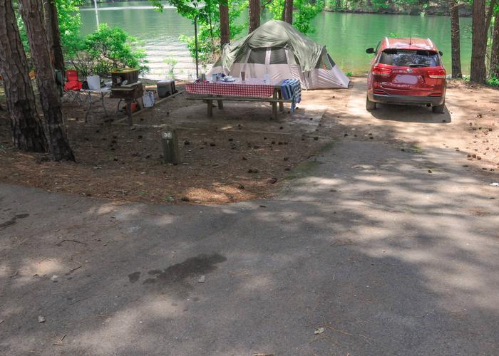 Driveway, campsite view, utilities-side clearance, awning-side clearance.McKaskey Creek Campground, campsite 38.