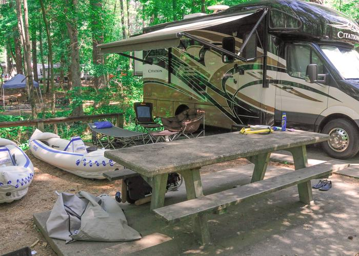 Awning-side clearance, campsite view.McKaskey Creek Campground, campsite 45.