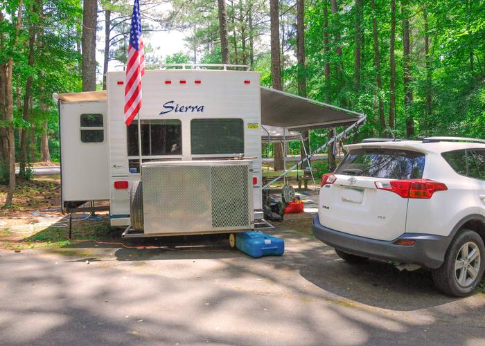 Driveway, awning-side clearance, utilities-side clearance.McKaskey Creek Campground, campsite 46.