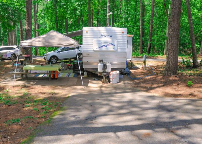 Utilities-side clearance, awning-side clearance, driveway slope.McKaskey Creek Campground, campsite 46.