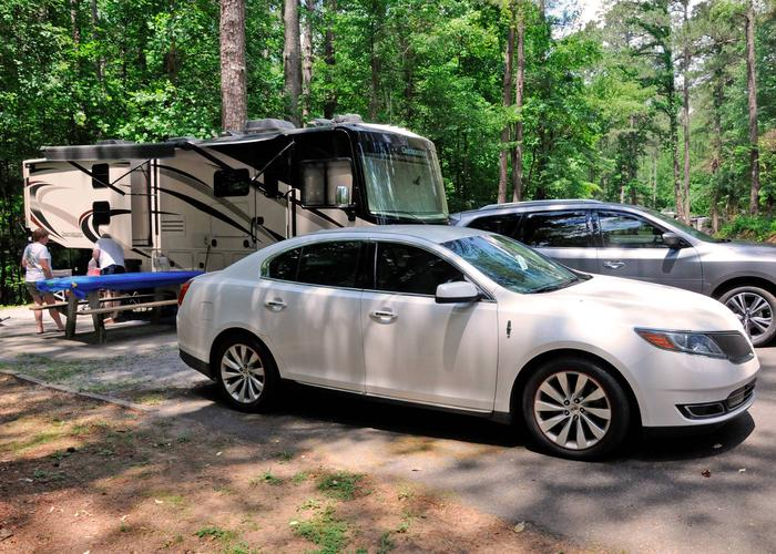 Awning-side clearance, parking.McKaskey Creek Campground, campsite 50.